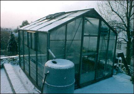 Succulent plant greenhouse in winter